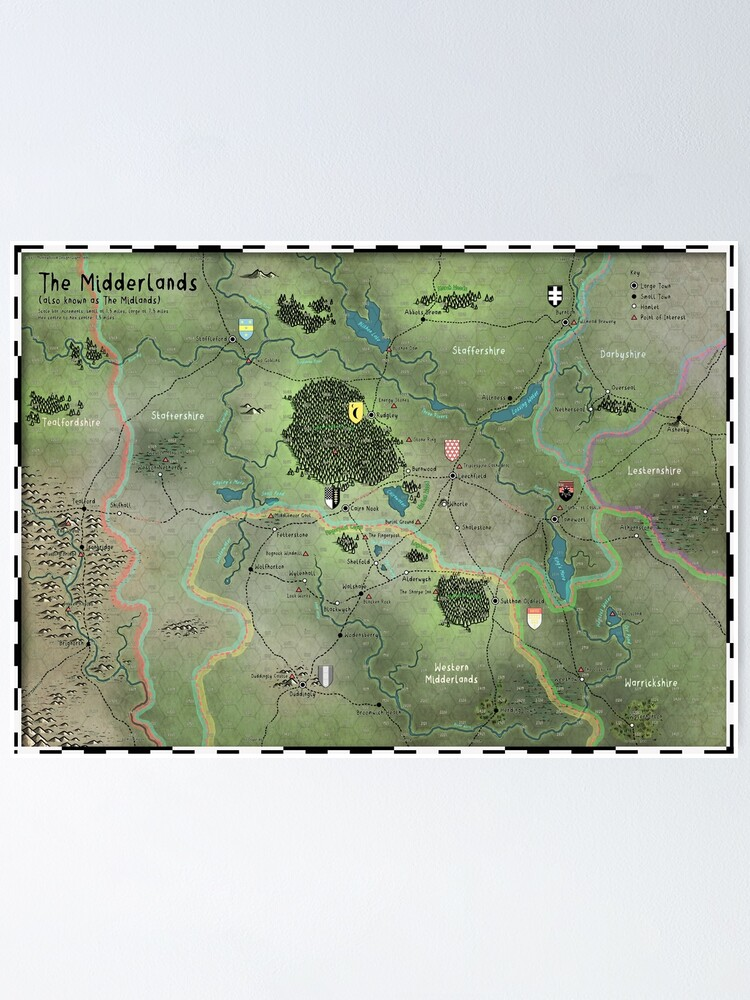 Alternate view of The Midderlands Hex Map Poster
