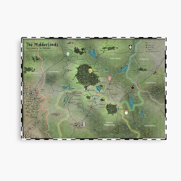 The Midderlands Hex Map Canvas Print