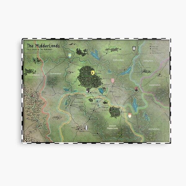 The Midderlands Hex Map Metal Print