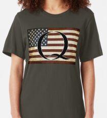 QARMY #qanon WHERE WE GO ONE - American Flag Q Slim Fit T-Shirt