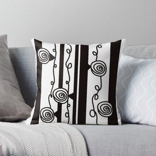 Black Stripe Spiral Throw Pillow