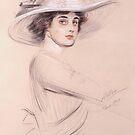 Portrait Of A Woman by Paul Cesar Helleu 1909 by David Dehner