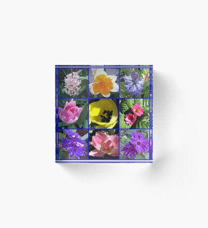 Blumen der Frühlings-Collage Acrylblock