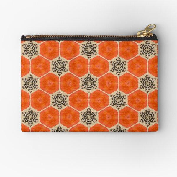 Orange Poppy Bee Pattern Zipper Pouch