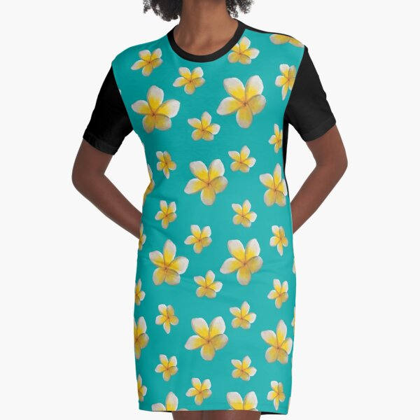 Frangipani —Yellow Graphic T-Shirt Dress