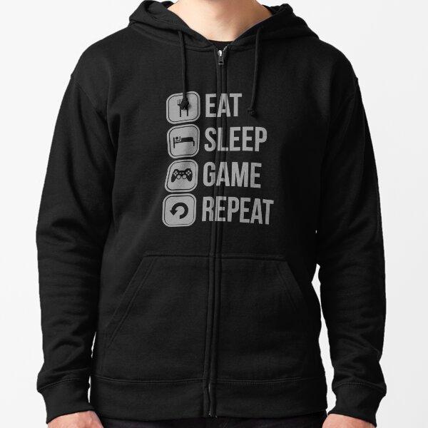Eat Sleep Game Repeat Zipped Hoodie