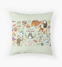 Ghibli Studios characters  Throw Pillow