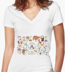 Ghibli Studios characters  Women's Fitted V-Neck T-Shirt