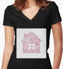House shaped vector pattern Women's Fitted V-Neck T-Shirt
