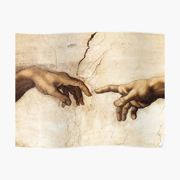 The Creation of Adam Michelangelo Painting Poster