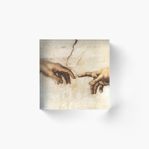 The Creation of Adam Michelangelo Painting Acrylic Block
