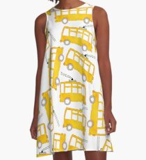 Watercolor yellow toy bus  A-Line Dress