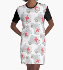 Watercolor ambulance toy car  Graphic T-Shirt Dress