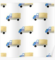 Watercolor truck toy car Poster