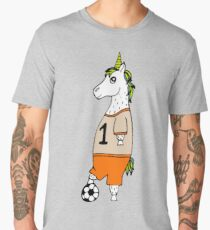 The lovely hand-drawn unicorn-football player with a ball. Men's Premium T-Shirt