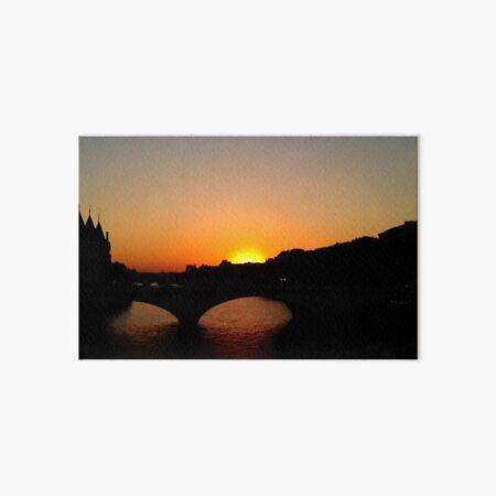 Notre Dame Bridge at Sunset Art Board Print