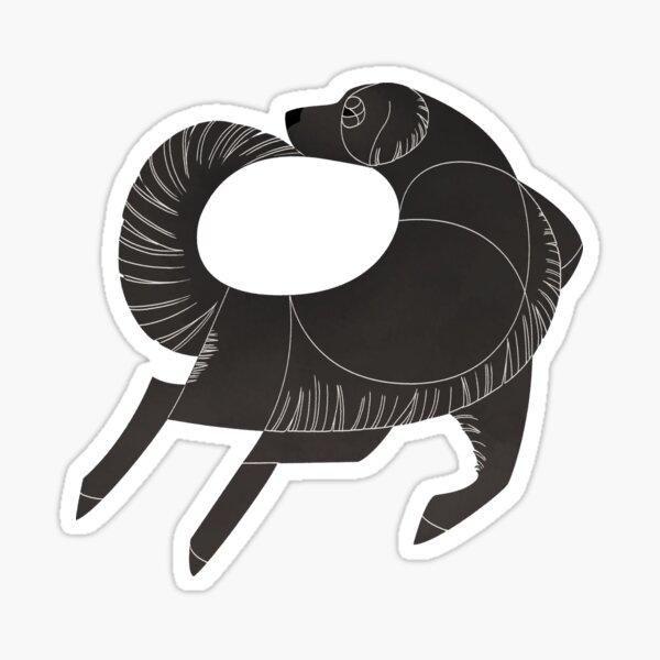 Geometric dogs - Flat-Coated Retriever Sticker