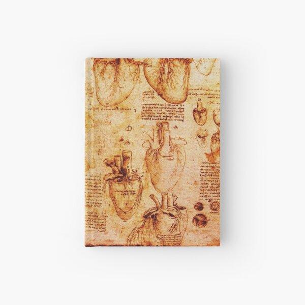 Heart And Its Blood Vessels, Leonardo Da Vinci Anatomy Drawings, Brown Hardcover Journal