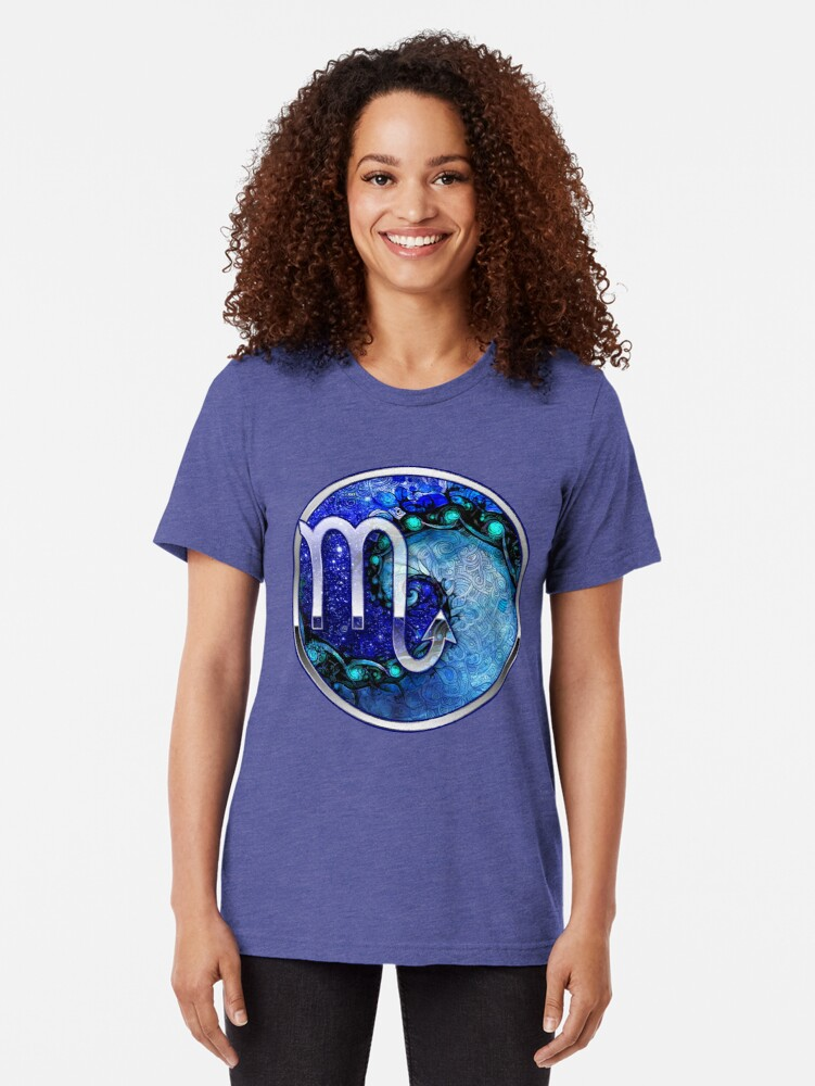 Alternate view of Nocturne of Scorpio - A Fractal Painting Tri-blend T-Shirt