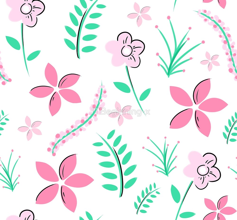 Pink flower and plants pattern by JustTheBeginning-x (Tori)