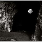 Full Moon through the Mouth of a Cave by Wayne King