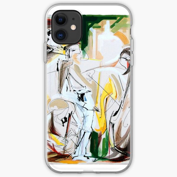 Expressive Musicians Playing Cello Flute Accordion Saxophone Drawing iPhone Soft Case