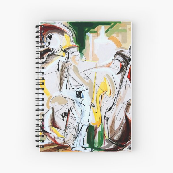 Expressive Musicians Playing Cello Flute Accordion Saxophone Drawing Spiral Notebook