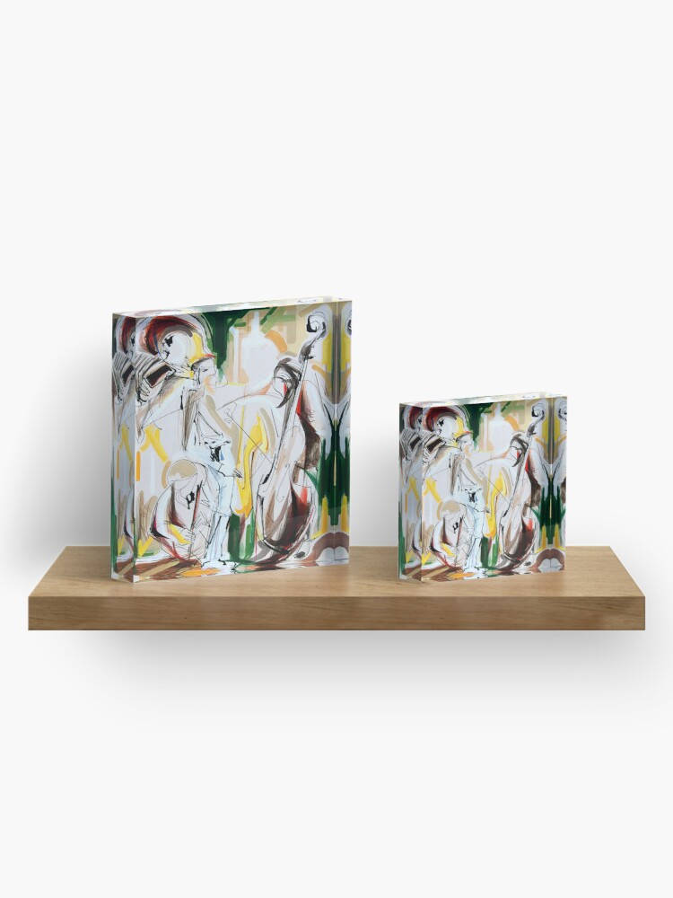 Alternate view of Expressive Musicians Playing Cello Flute Accordion Saxophone Drawing Acrylic Block