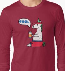 Lovely hand-drawn unicorn-football fan with a glass of beer. Long Sleeve T-Shirt