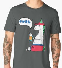 Lovely hand-drawn unicorn-football fan with a glass of beer. Men's Premium T-Shirt