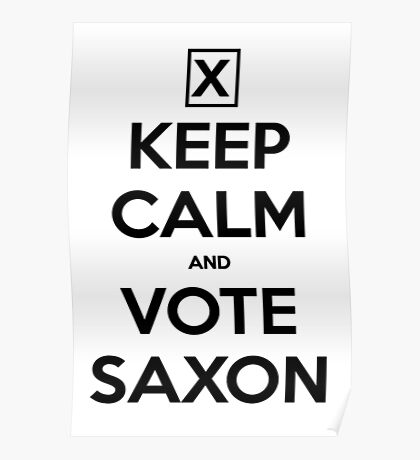 Vote Saxon - White Poster