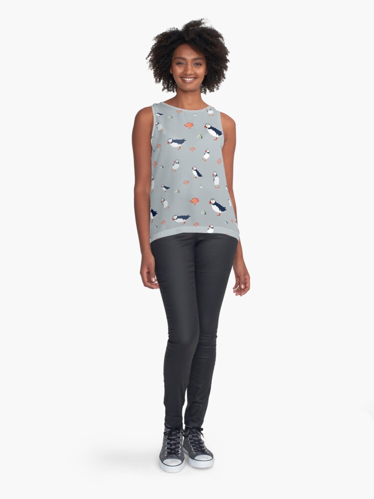 Alternate view of Puffins on grey Sleeveless Top