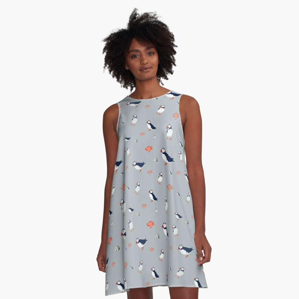 Puffins on grey A-Line Dress