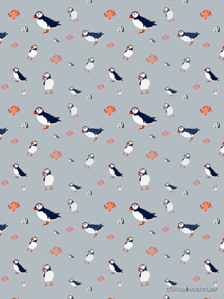 Puffins on grey by chihuahuashower