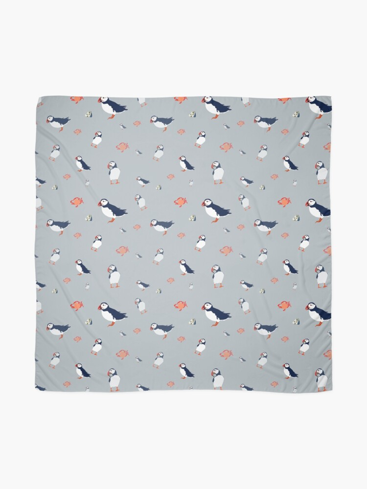 Alternate view of Puffins on grey Scarf