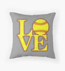 Vintage LOVE Girl's Softball Fast-pitch Throw Pillow