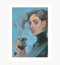 A girl with a starling Art Print