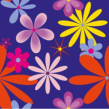 Abstract Flowers Bright on Blue by claracooper