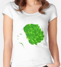 Girl green watercolor Women's Fitted Scoop T-Shirt