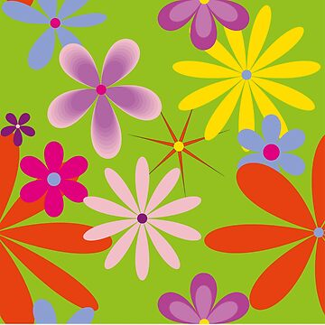 Abstract Flowers Bright 2 on Green by claracooper