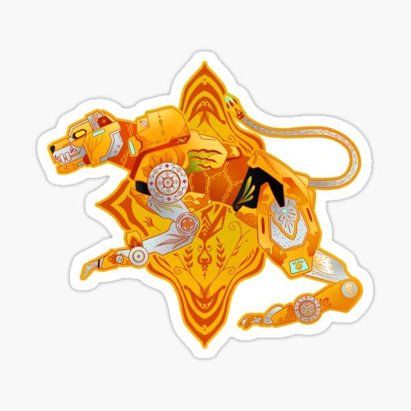 Yellow Batik Lion Sticker