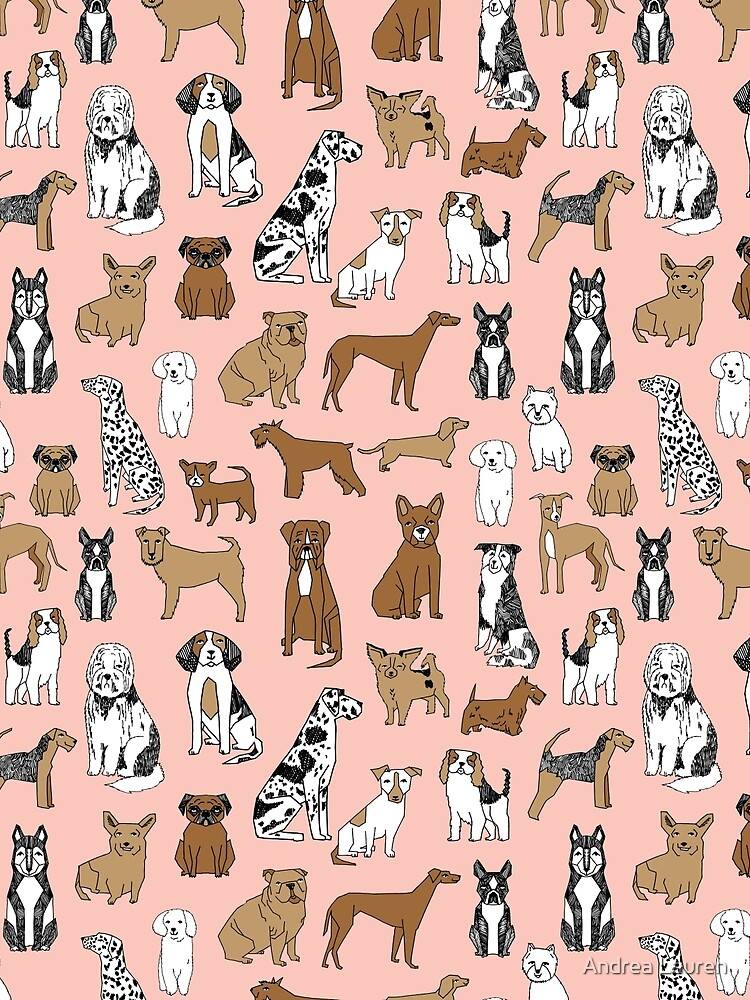 Dogs Dogs Dogs - Pink Background by papersparrow