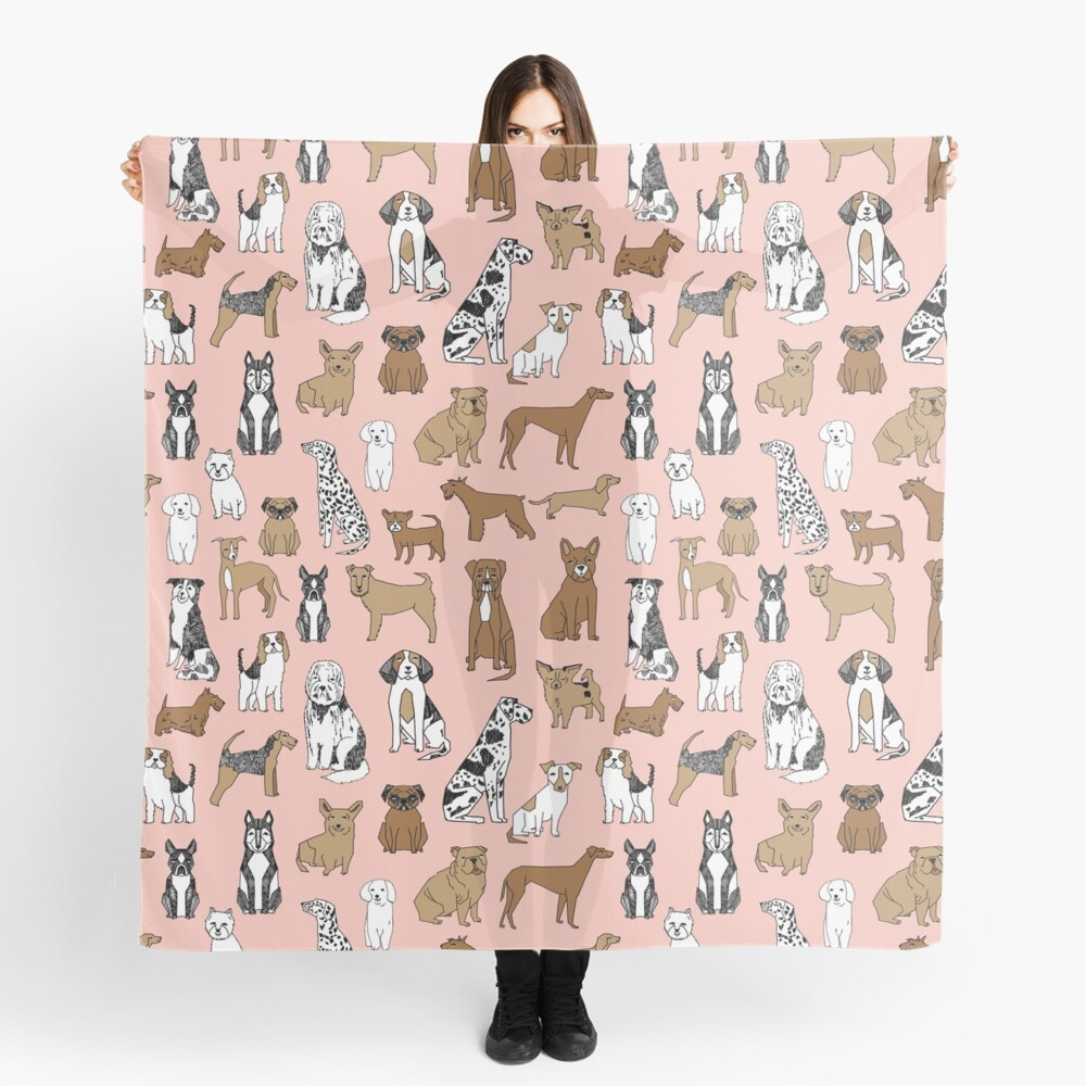 Dogs Dogs Dogs - Pink Background Scarf