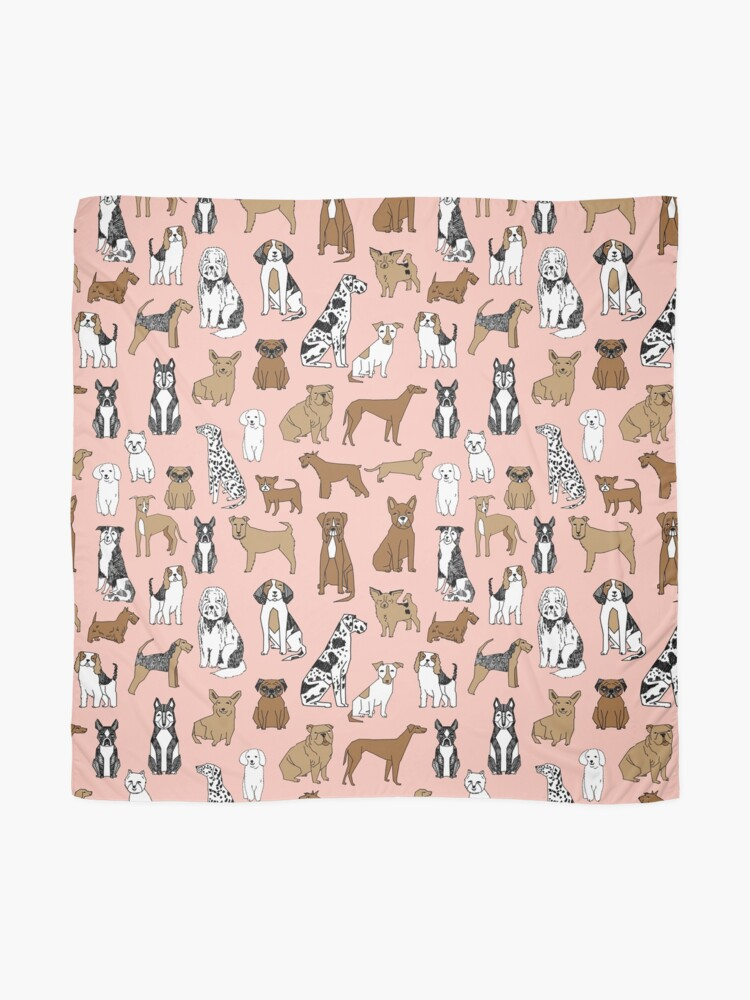 Alternate view of Dogs Dogs Dogs - Pink Background Scarf