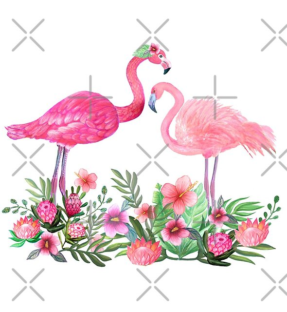 Pink Flamingo Watercolor painting with Protea, Hibiscus and Palms by MagentaRose