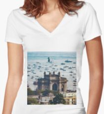 Gateway of India Sky View Women's Fitted V-Neck T-Shirt