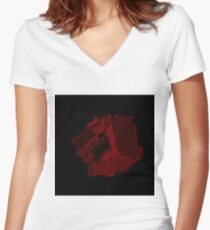 Red abstract rose Women's Fitted V-Neck T-Shirt