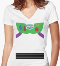 Buzz Lightyear Costume Front Women's Fitted V-Neck T-Shirt