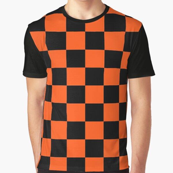 Black and Orange Checkerboard Pattern Graphic T-Shirt