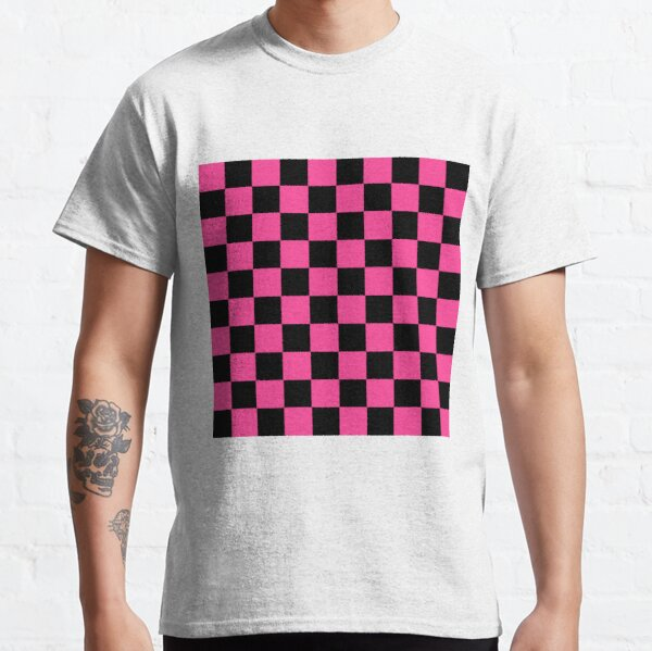 Black and Pink Checkerboard Pattern Classic T-Shirt